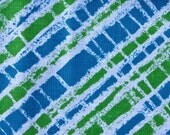 FABRIC - 3 Yards Vintage Lime Green and Blue Diagonal Stripe Linen Cotton