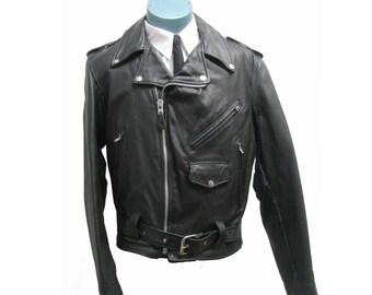 Branded Motorcycle Jacket Mens Black Leather Skinny Biker Jckt With Liner Mns Size 38 Made In USA / Rockabilly /Punk/ Biker
