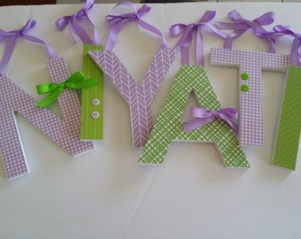 Lavender and Lime Nursery Decor -Baby Girl Wooden Letters for Nursery-avail in any size or font in this shop