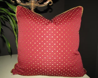 Garnet Red and Gold Dot Decorator Toss Pillow, Corded Toss Pillow, Red Toss Pillow