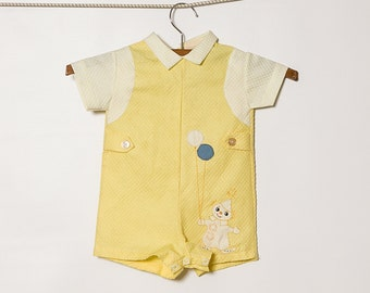 vintage 1960s baby boy's yellow quilted romper