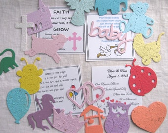SET OF 75 Seed Paper Favor Kit- your choice seed paper shape and color with personalized 4 x 4 card