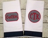 Burp Cloth Set with Name and Monogram for Baby Boy or Girl