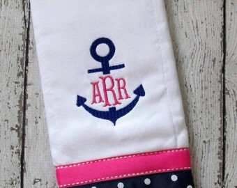 Monogrammed Anchor Burp Cloth for Baby Boy or Baby Girl