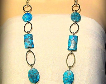 CLEARANCE - Necklace- Long and Beautiful Blue Gemstone