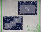 5x7 Navy and silver glitter Christmas Card templates PSD