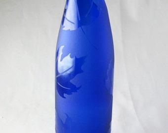Maple Leaf Sandblasted Wine Bottle Vase