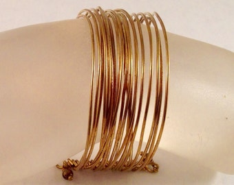 Wide Stacked Brass Bangle Bracelet 1 Inch Wide Fits a Smaller Wrist of 7 Inches and Under Previously Forty Five Dollars ON SALE