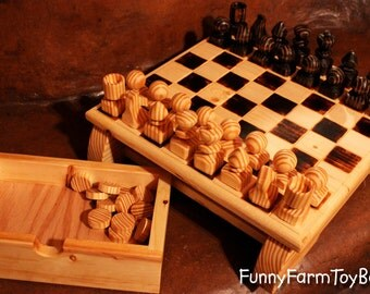 Handmade Chess Set with Heavy Board and Built-in Drawers Family Heirloom