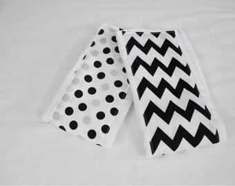 Black and White Chevron and Polka Dot Burp Cloths - Set of 2