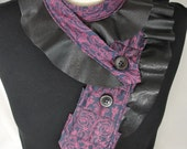 Repurposed Necktie Ruffled Collar In Fuchsia and Navy with Black Leather