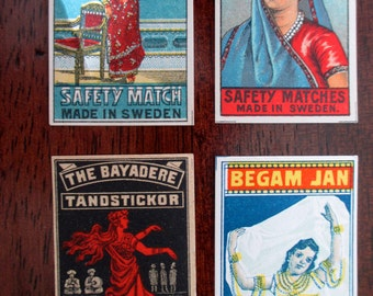 4 antique Swedish matchbox papers - unused, labels