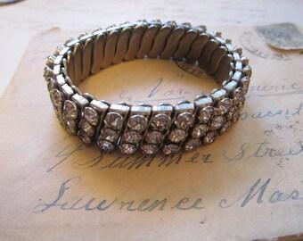 vintage rhinestone bracelet - triple row, metal with clear rhinestones