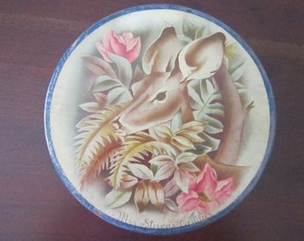 vintage candy tin - Mrs. Steven's Candies - litho DEER