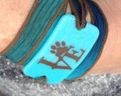 Love, puppy love, dogs, pets, paw prints, Serenity Bracelet - wrap bracelet, fused glass on silk