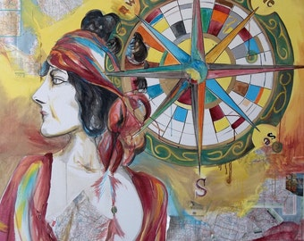 Gypsy Soul Find your Compass Original Art Mixed media 4x5 feet on gallery wrapped canvas