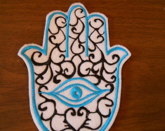 Turquiose and black hamsa chamsa khamsa embroidered iron on patch