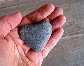 Dark Heart - Heart Shaped Natural Beach Stone - FREE SHIPPING