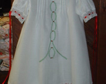 Christmas dress  size 3-4 Heirloom white/ red and green hand embroidery