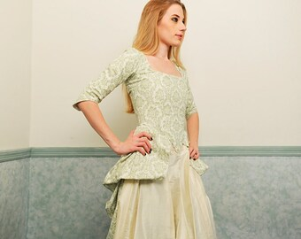 1700s Peasant Gown in Green and Ivory