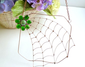 Copper Wire Odd Shape Spider Web With Green Glass Gem Flower Sun Catcher Modern Design Window Art Birthday Gift for Bug Lover Insect Art