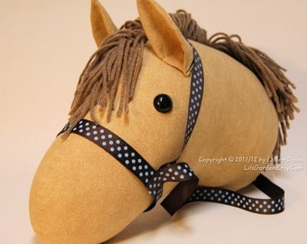 Stick Horse Head, Mocha with Light Brown Mane & Brown blue dot bridle, MADE to ORDER, With or Without Stick
