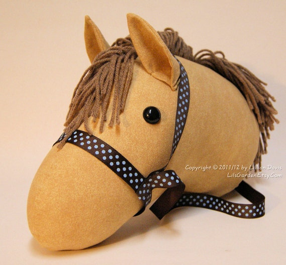Mocha Stick Horse with Light Brown Mane & Brown blue dot bridle, MADE to ORDER, With or Without Stick