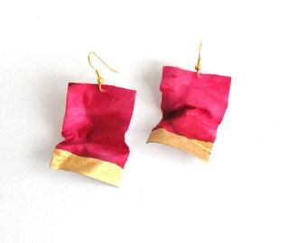 Pink Dangle Earrings, Silk Earrings, Textile jewelry, Fiber Jewelry, Modern Earrings, Contemporary Jewelry, Spring Summer Accessories