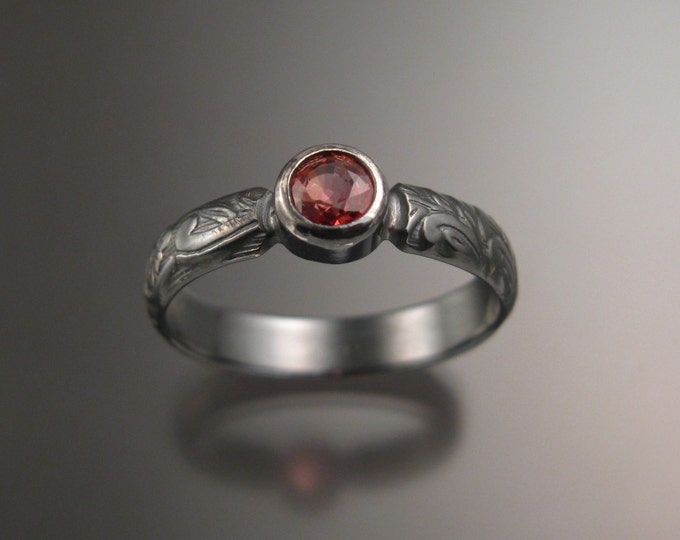 Orange Sapphire Wedding ring sterling silver Victorian bezel set Padparadscha oxidized ring made to order in your size