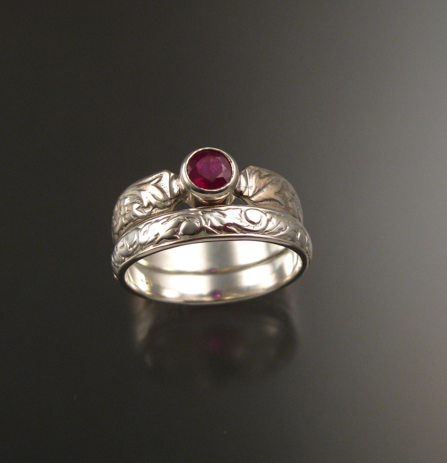 Ruby and 14k White Gold flower and vine pattern Natural stone