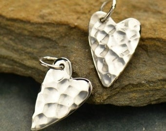 Sterling Silver Small Hammered Heart Charm -  C2584