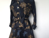 Beautiful Sexy Vintage Boudoir Robe In A Black Taffeta With Metallic Gold Flowers And Blue Butterflies