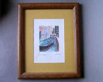 Art Print Signed Venice Wood Frame Silk Screen Home Wall Decor