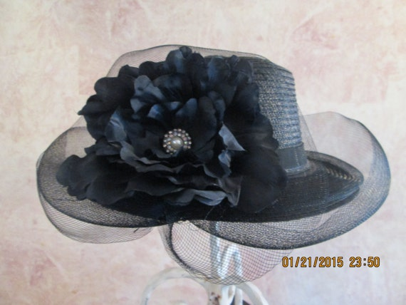 Black Derby Hat with Veiling for Women -Womens Kentucky Derby Hat -Church Hat