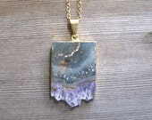 Amethyst Stalactite Necklace, 24K Gold Fill, Gold Amethyst Slice Pendant, Layering Necklace, Amethyst Geode Slice, February Birthstone