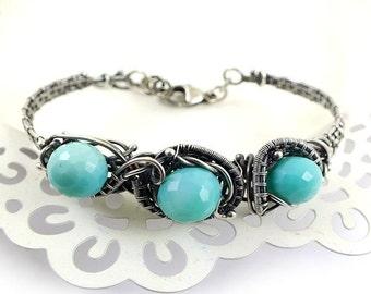 Wire wrap bracelet, sterling silver jewelry, gemstone bold bracelet, sterling cuff, fine jewelry