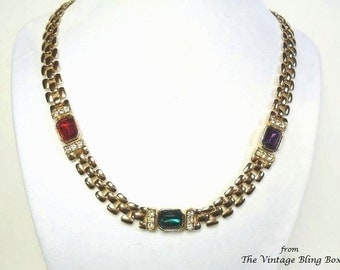 60s Gold Brick Chain Link Necklace with Bezel Set Ruby, Sapphire & Amethyst Glass Crystals and Hidden Clasp - Vintage 60's Costume Jewelry