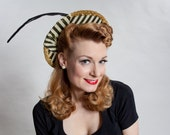 Vintage 1940s Striped Straw Hat - Taffeta Shellacked Feather - 1930s Kentucky Derby Fashions