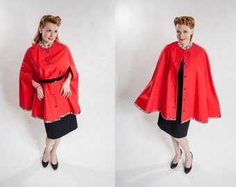 Vintage 1950s Red Cape - Satin Zebra Trim - Volup Fashions