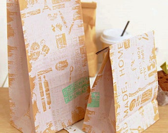 30 Vintage Kraft Paper Bags - M size (6 x 10.6in)