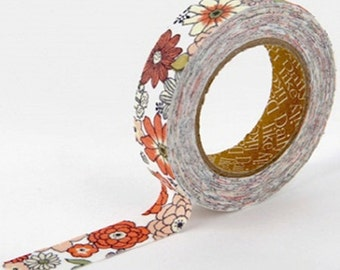 Adhesive Fabric Tape - Brown Garden Flower (0.6in)