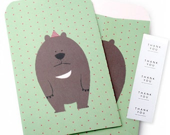 5 Asiatic Black Bear Gift Bags & 5 Thank You Stickers - S size (4.3 x 6.3 in)
