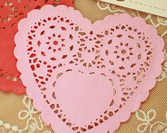 30 Romantic Heart Paper Doilies - Pink (5 x 4.7in)