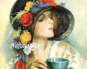 Tea Time Elegant Lady with Hat Reproduction Art Downloadable, Printable, Digital Art Image.Instant Download