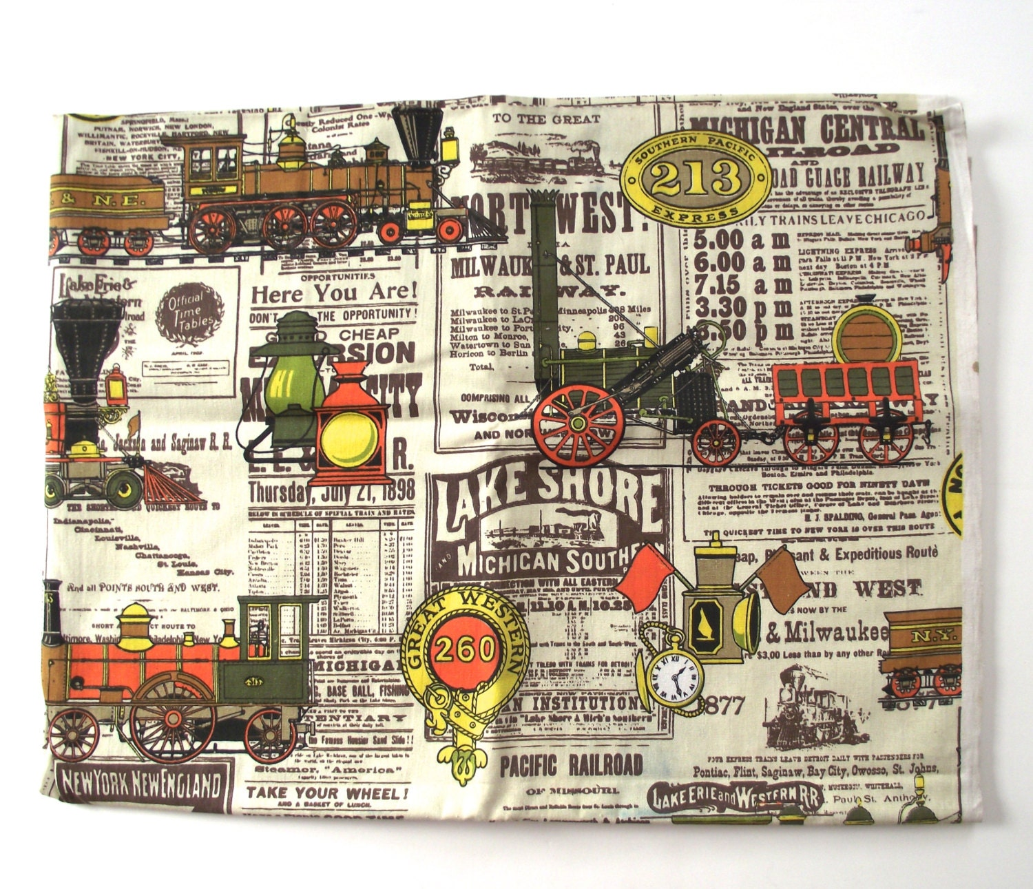 Railroad train fabric just over 1 yard of vintage fabric for Train print fabric