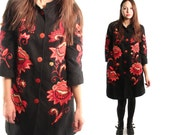 JOANNA 90s Bold Black and Red Ethnic Spanish Asian Inspired Floral Dragon Button Up Grunge Club Long Jacket Coat Sweater Steampunk Medium