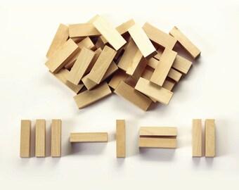 Set of 40-  Wooden Blocks- Home school, Math, Montessori Learning (Birch)  1/2 x 3/4 x 2-1/4 inch
