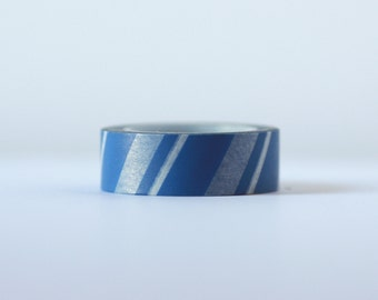 Blue Candy Cane Washi Tape-  Single Roll 15 mm x 10 m