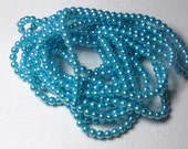 4mm Turquoise Blue Glass Pearl Beads - 1 strand of Blue glass pearls