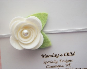 White Felt Flower Headband, Felt Baby Headband, White Baby Headband, White Newborn Headband, Baby Headband, Toddler Headband, Girls Headband
